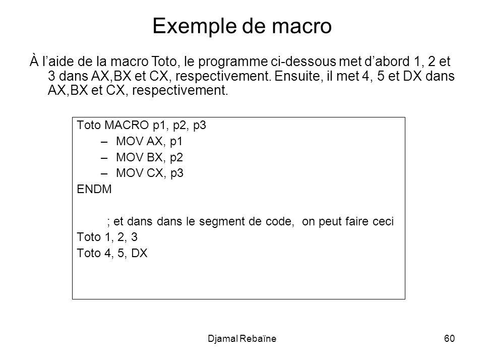 Djamal Rebaïne60 Exemple de macro Toto MACRO p1, p2, p3 –MOV AX, p1 –MOV BX, p2 –MOV CX, p3 ENDM ; et dans dans le segment de code, on peut faire ceci