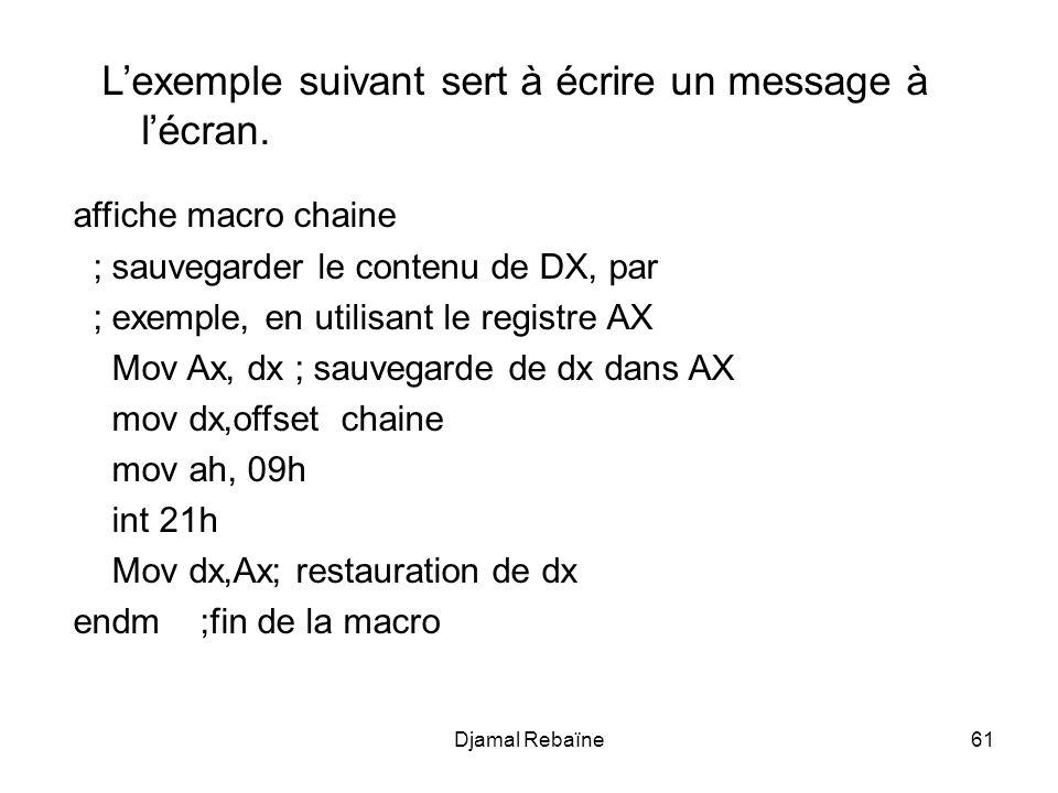 Djamal Rebaïne61 affiche macro chaine ; sauvegarder le contenu de DX, par ; exemple, en utilisant le registre AX Mov Ax, dx ; sauvegarde de dx dans AX