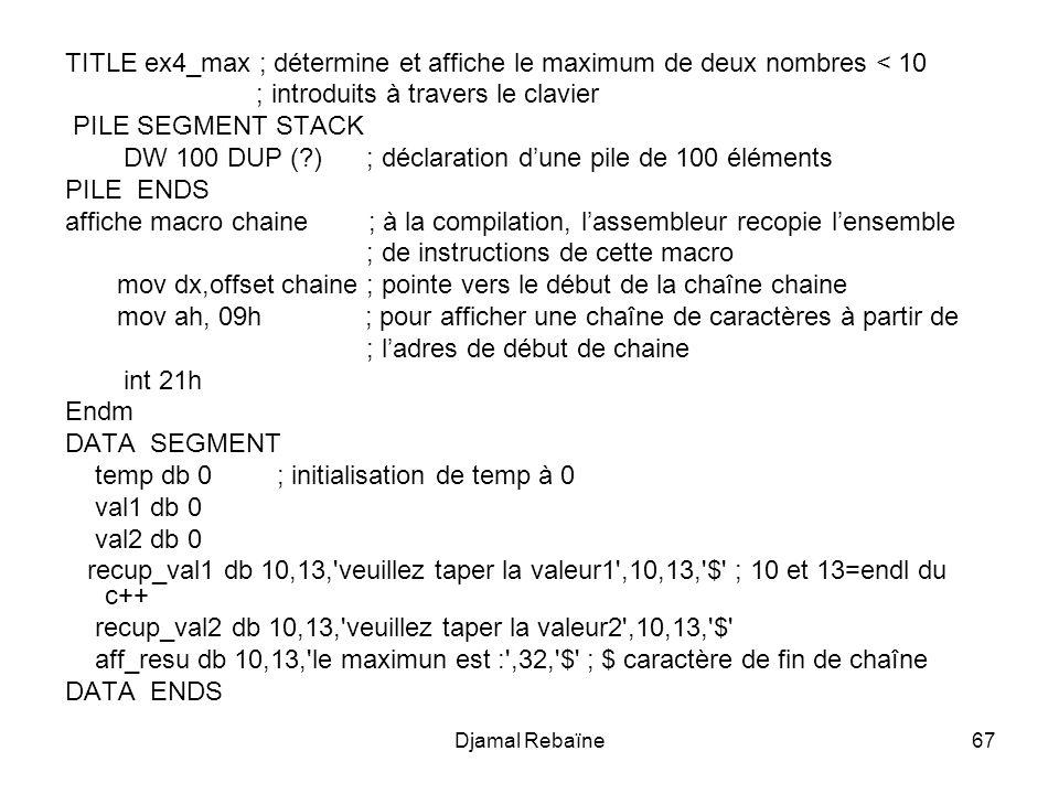 Djamal Rebaïne67 TITLE ex4_max ; détermine et affiche le maximum de deux nombres < 10 ; introduits à travers le clavier PILE SEGMENT STACK DW 100 DUP