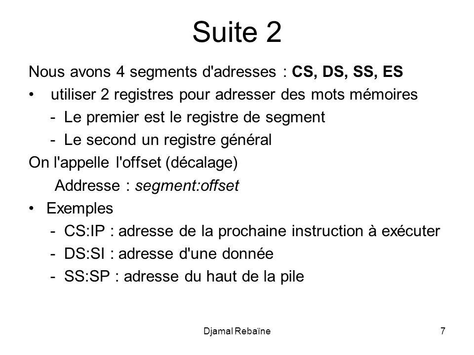 Djamal Rebaïne158 Donnee SEGMENT chaine1 db 2000 dup(?) chaine2 db 100 dup(?) Donnee ENDS CODE SEGMENT ASSUME CS:CODE, DS:Donnee, ES:Donnee MOV AX, Donnee MOV DS,AX MOV ES,AX ENTREE: ; initialiser sens de transfert CLD ; adresse croissante ;initialiser chaine1 avec 200 caractères A MOV AL, A ; caractères de remplissage MOV CX,2000 ; longueur de la chaîne LEA DI,chaine1 ; DI recoit ladresse de chaine1 REP STOSB