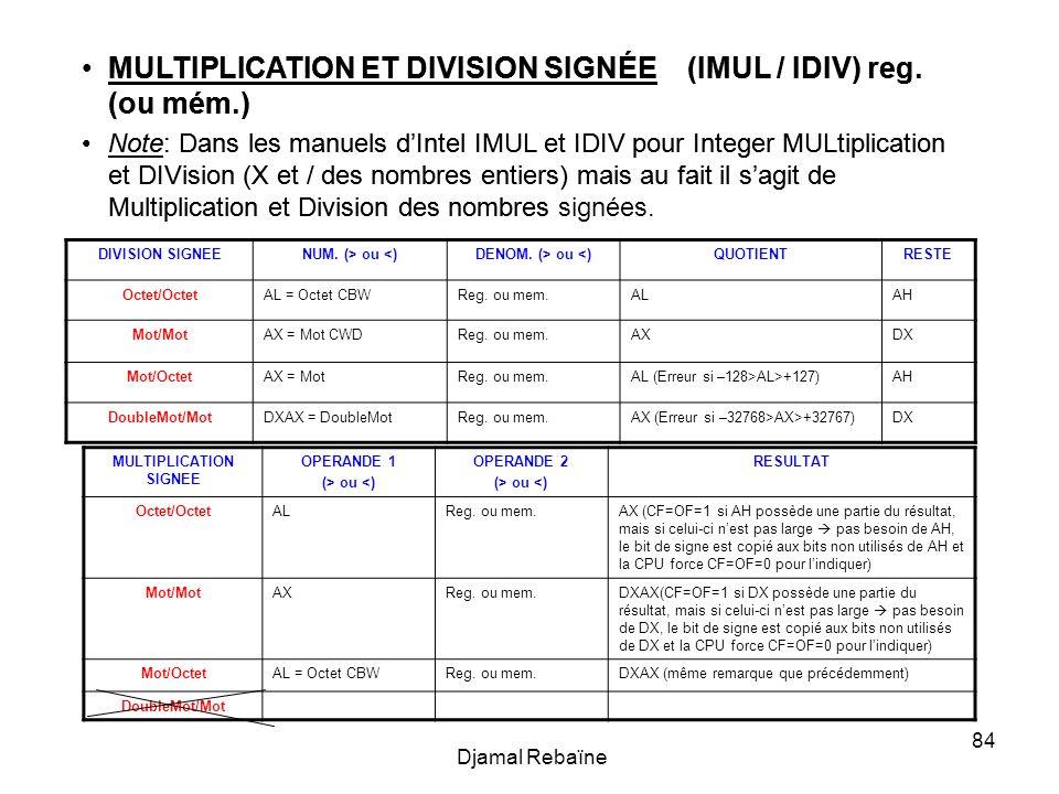 Djamal Rebaïne 84 MULTIPLICATION ET DIVISION SIGNÉE (IMUL / IDIV) reg. (ou mém.) Note: Dans les manuels dIntel IMUL et IDIV pour Integer MULtiplicatio