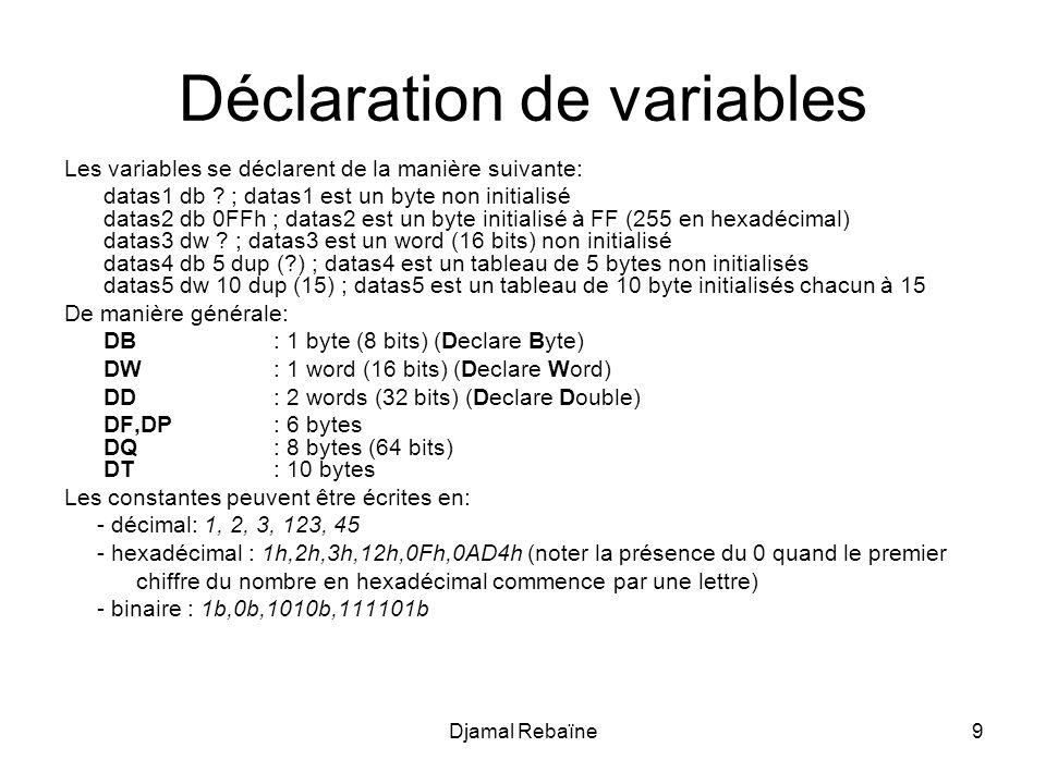 Djamal Rebaïne50 ; Segment de donn é es dataSEGMENT chaineDB Hello world* dataENDS ; Segment de code codeSEGMENT ASSUME DS:data, CS:code main:; Initialisation du registre de segment de donn é es MOV AX,data MOV DS,AX ; Chargement de l adresse de la cha î ne dans BX ; Il s agit de l adresse relative au d é but du segment MOV BX,offset chaine ; Initialisation compteur MOV CX,0 Repeter:MOV AL,[BX] CMP AL,*; Test de fin de cha î ne JZ finito INC BX; va de lavant dans la chaine INC CX; Incrémentation compteur JMP repeter finito: ; Retour au DOS MOV AH,4CH INT 21H code ENDS END main; Adresse de lancement
