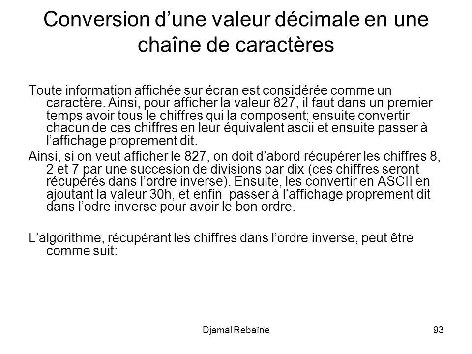 Djamal Rebaïne93 Conversion dune valeur décimale en une chaîne de caractères Toute information affichée sur écran est considérée comme un caractère. A