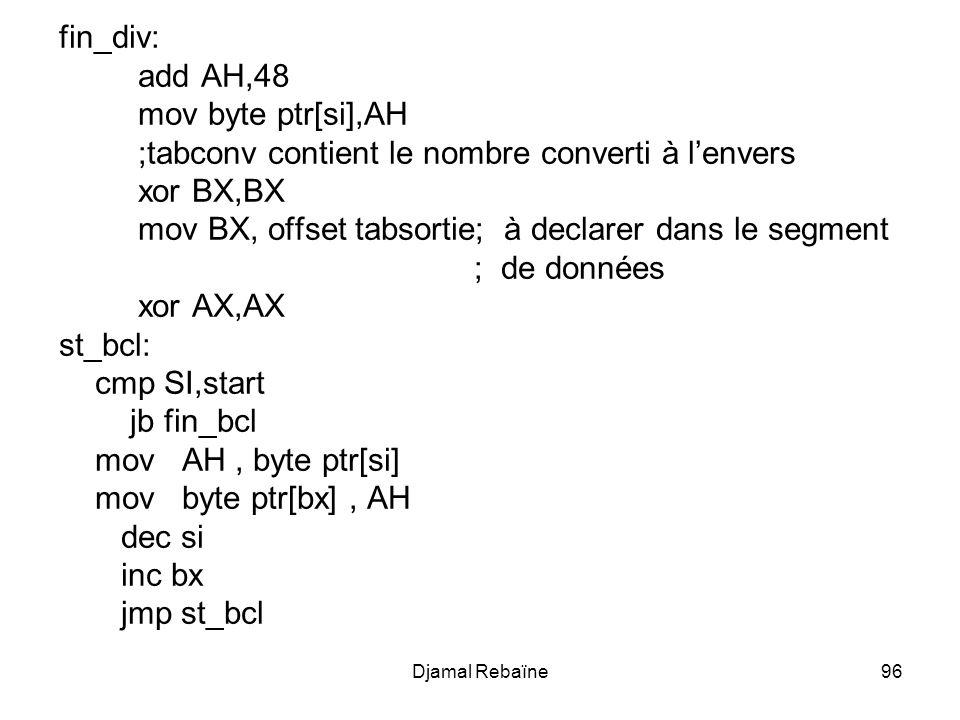 Djamal Rebaïne96 fin_div: add AH,48 mov byte ptr[si],AH ;tabconv contient le nombre converti à lenvers xor BX,BX mov BX, offset tabsortie; à declarer