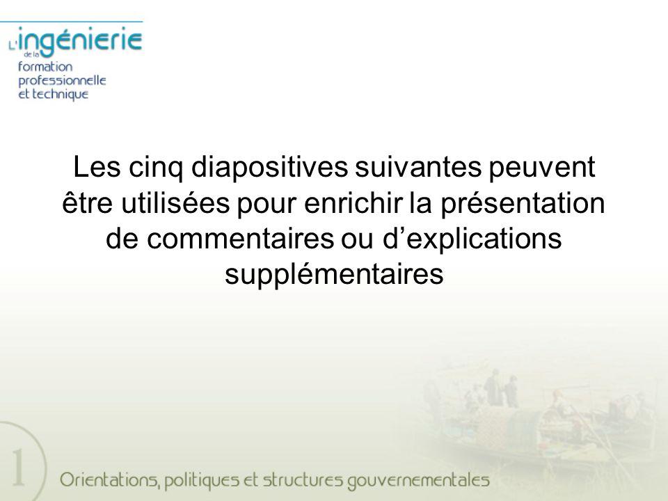 Les cinq diapositives suivantes peuvent être utilisées pour enrichir la présentation de commentaires ou dexplications supplémentaires