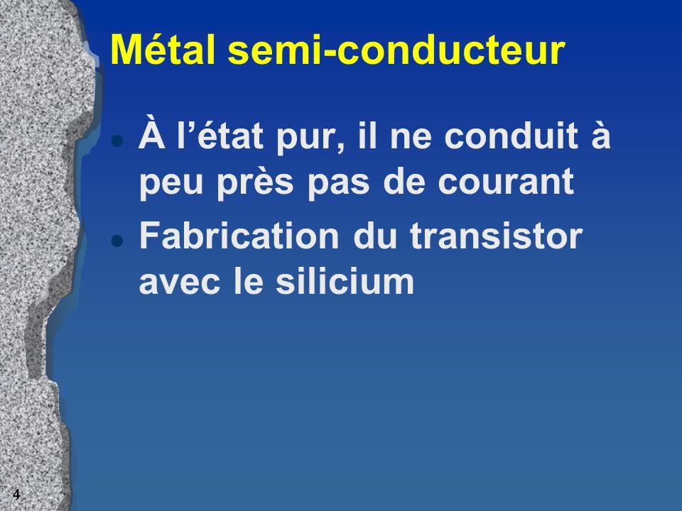 3 Transistor4 l Élément « atomique » de lord l Autorise ou pas le passage du courant, ou l stocke une donnée binaire l taille dune bactérie l ord. uti