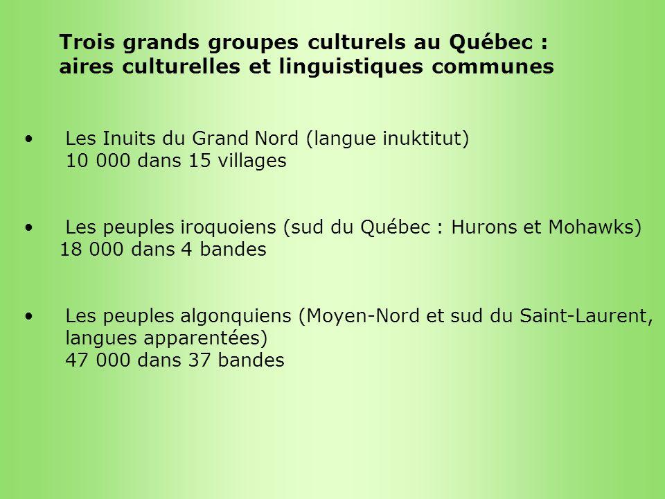 Trois grands groupes culturels au Québec : aires culturelles et linguistiques communes Les Inuits du Grand Nord (langue inuktitut) 10 000 dans 15 vill