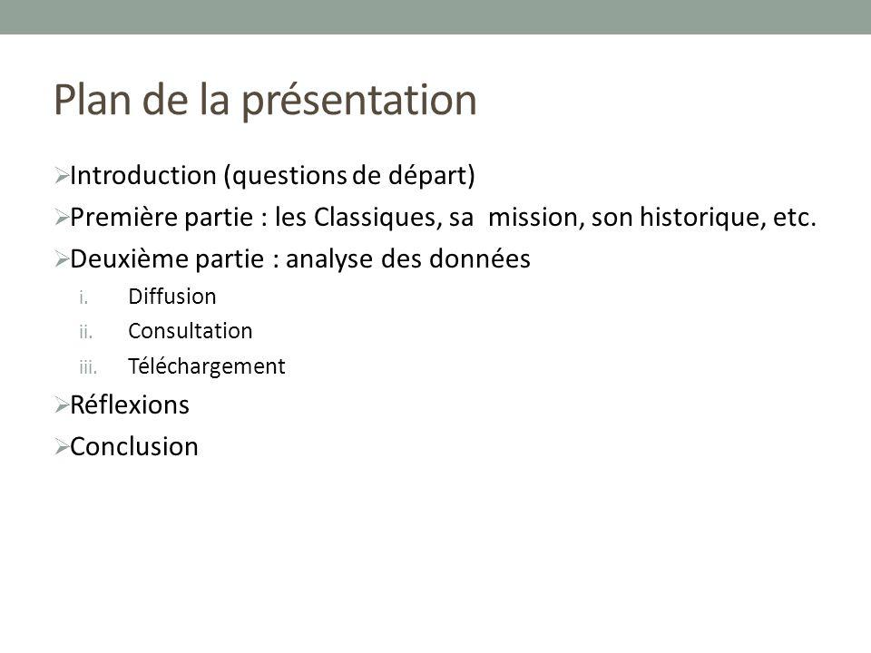 Plan de la présentation Introduction (questions de départ) Première partie : les Classiques, sa mission, son historique, etc.