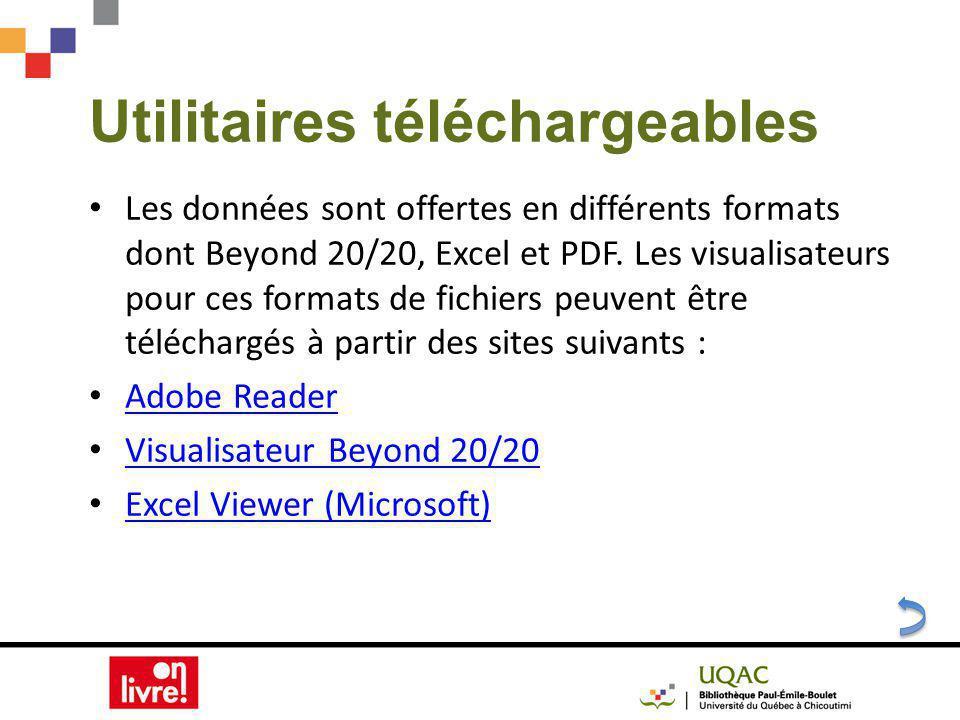 Utilitaires téléchargeables Les données sont offertes en différents formats dont Beyond 20/20, Excel et PDF.