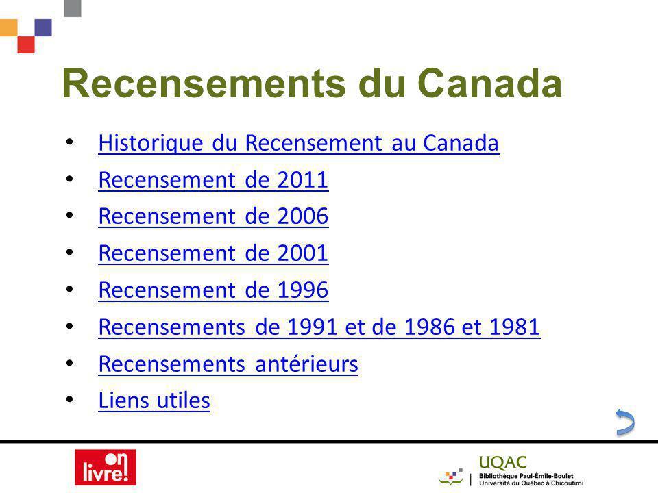 Recensements du Canada Historique du Recensement au Canada Recensement de 2011 Recensement de 2006 Recensement de 2001 Recensement de 1996 Recensements de 1991 et de 1986 et 1981 Recensements antérieurs Liens utiles