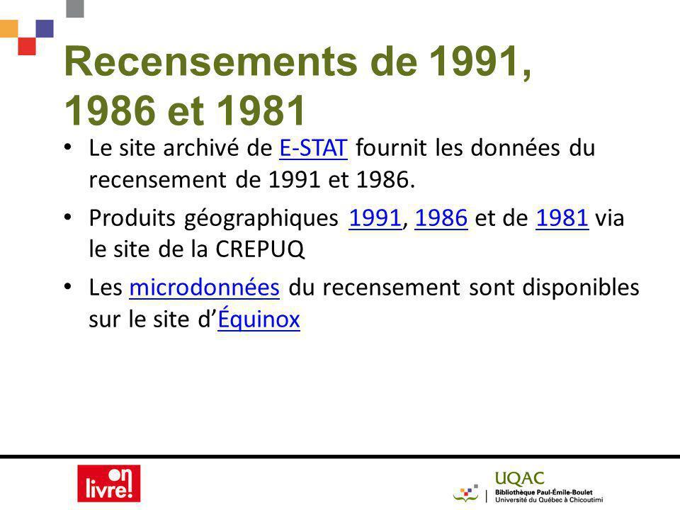 Recensements de 1991, 1986 et 1981 Le site archivé de E-STAT fournit les données du recensement de 1991 et 1986.E-STAT Produits géographiques 1991, 1986 et de 1981 via le site de la CREPUQ199119861981 Les microdonnées du recensement sont disponibles sur le site dÉquinoxmicrodonnéesÉquinox
