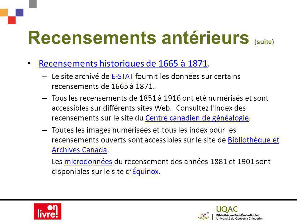 Recensements antérieurs (suite) Recensements historiques de 1665 à 1871.