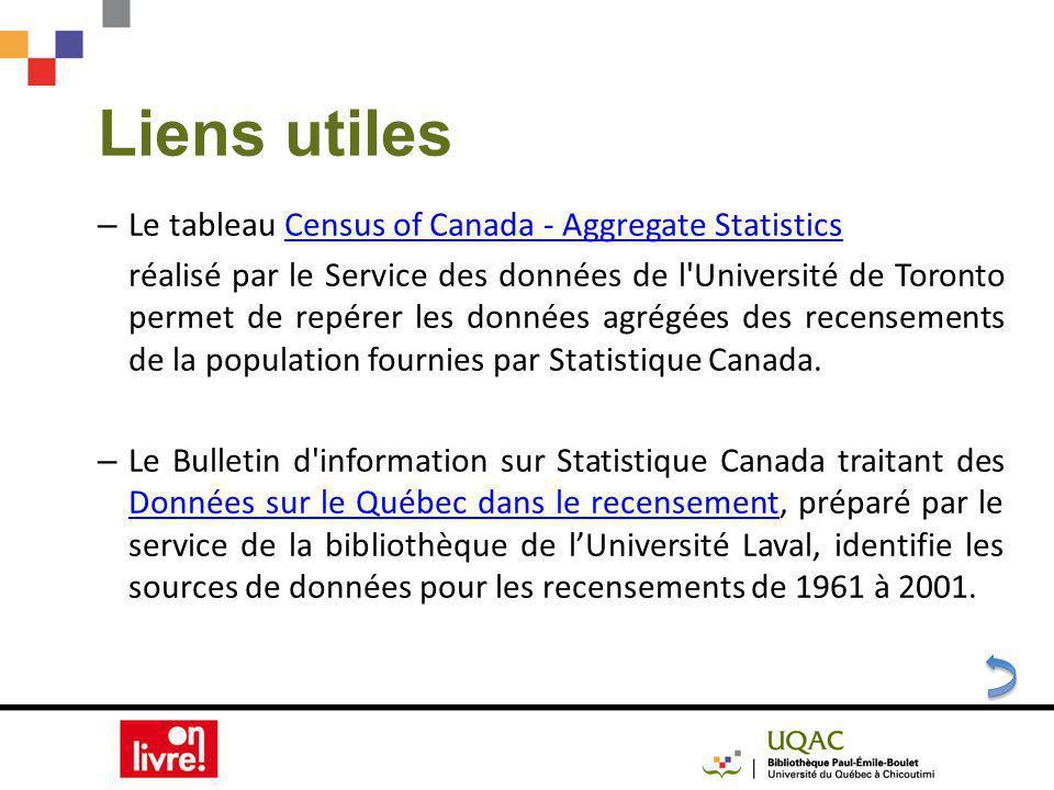 Liens utiles – Le tableau Census of Canada - Aggregate StatisticsCensus of Canada - Aggregate Statistics réalisé par le Service des données de l Université de Toronto permet de repérer les données agrégées des recensements de la population fournies par Statistique Canada.