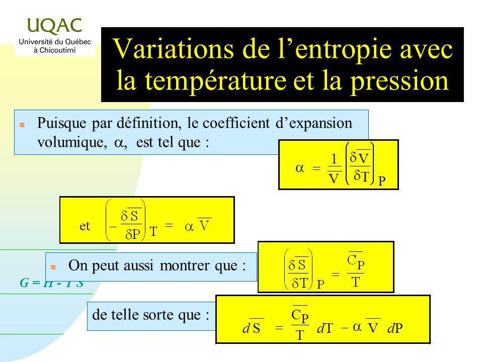 G = H - T S n Puisque lordre de deux dérivées successives sur une fonction peut être permuté : n En appliquant cette permutation à la fonction Énergie