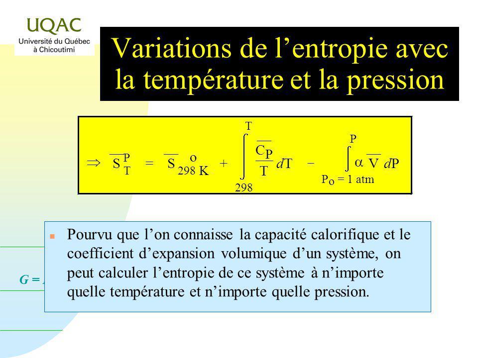 G = H - T S Puisque par définition, le coefficient dexpansion volumique,, est tel que : n On peut aussi montrer que : = 1 V V T P de telle sorte que :