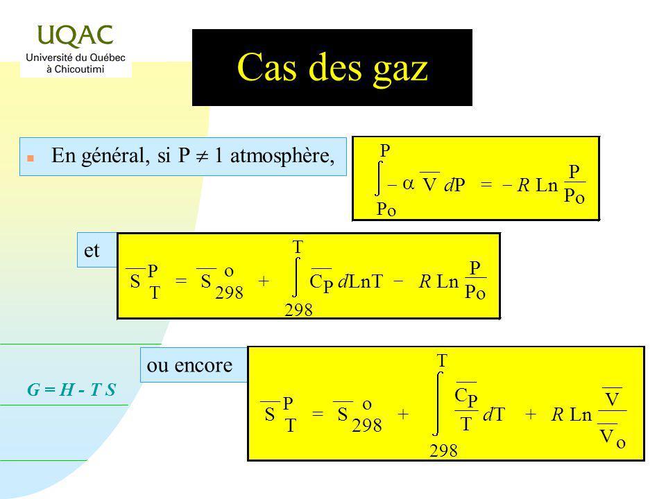 G = H - T S Cas des gaz n En se rappelant que (loi de BOYLE-MARIOTTE) : P V = R T = 1 ¯¯ V ¯¯ V T P = 1 ¯¯ V RTRT P T P = R P ¯¯ V et P o = 1 P V dP d
