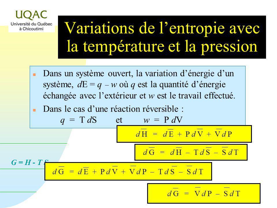 G = H - T S Variations de lentropie avec la température et la pression n Léquation différentielle relative à lénergie utilisable G sécrit : De la même