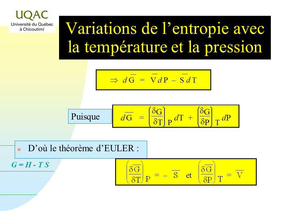 G = H - T S Dans un système ouvert, la variation dénergie dun système, dE = q w où q est la quantité dénergie échangée avec lextérieur et w est le tra