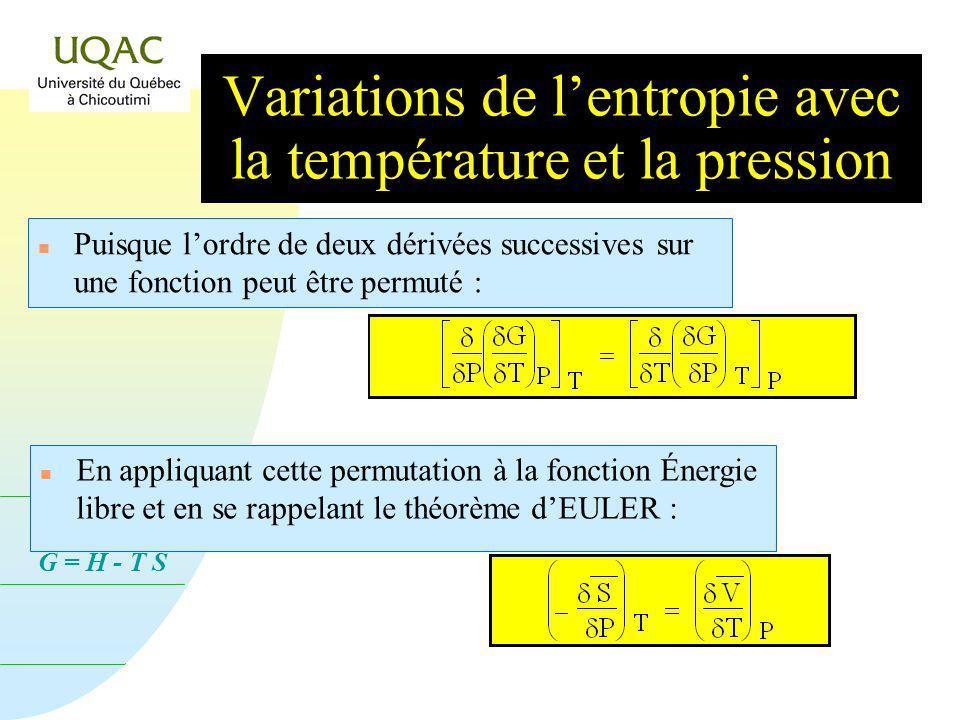 G = H - T S n Doù le théorème dEULER : d G = V d P S d T Puisque d G = G T P dT + G P T dP dP Variations de lentropie avec la température et la pressi