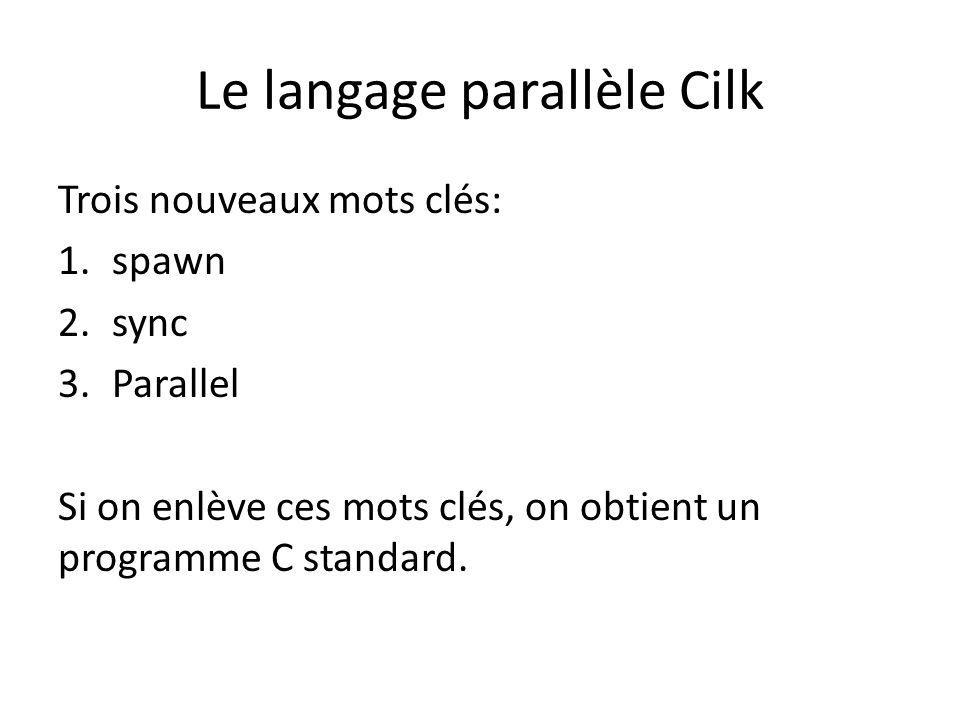 Le langage parallèle Cilk Trois nouveaux mots clés: 1.spawn 2.sync 3.Parallel Si on enlève ces mots clés, on obtient un programme C standard.