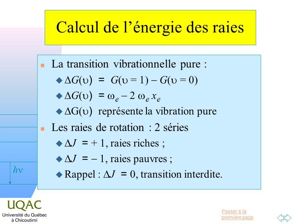 Passer à la première page v = 0 h Calcul de lénergie des raies La transition vibrationnelle pure : G( ) = G( = 1) G( = 0) G( ) = e 2 e x e G( ) représ