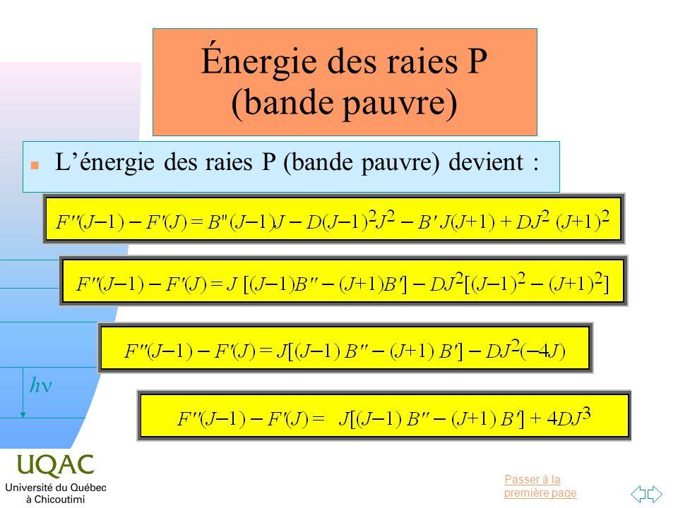 Passer à la première page v = 0 h Énergie des raies P (bande pauvre) n Lénergie des raies P (bande pauvre) devient :