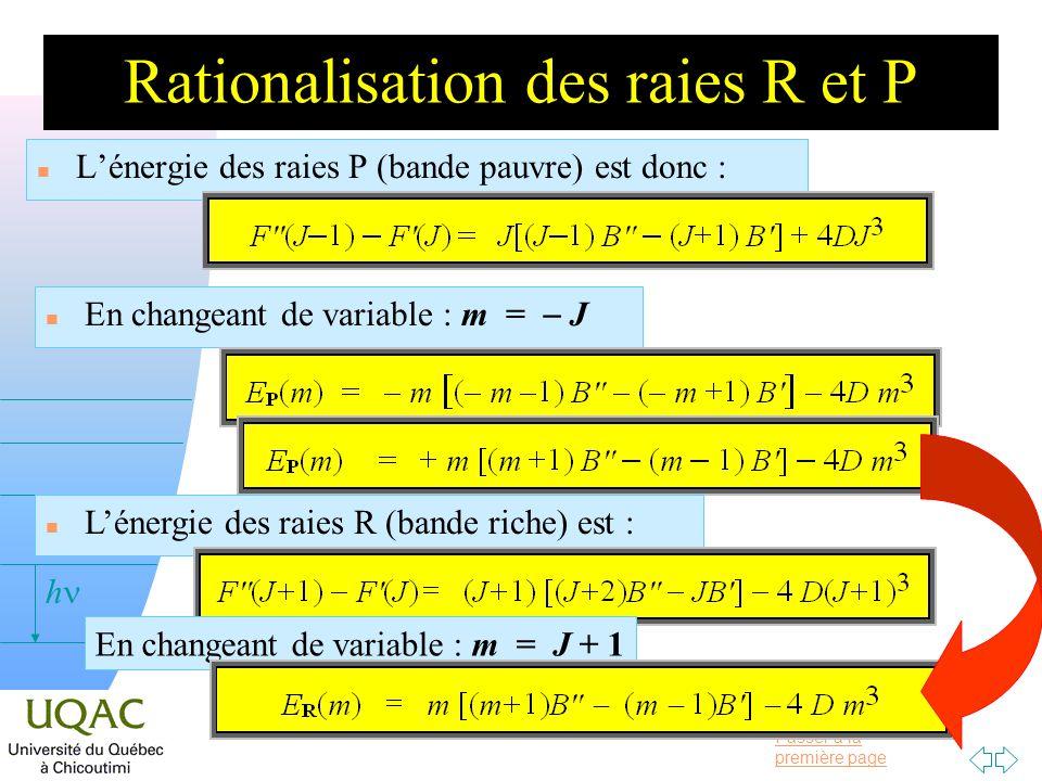 Passer à la première page v = 0 h Rationalisation des raies R et P n Lénergie des raies P (bande pauvre) est donc : En changeant de variable : m = J n