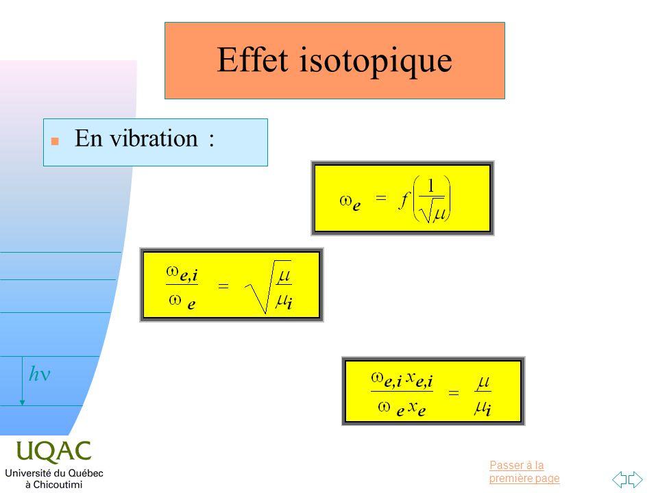 Passer à la première page v = 0 h Effet isotopique n En vibration :