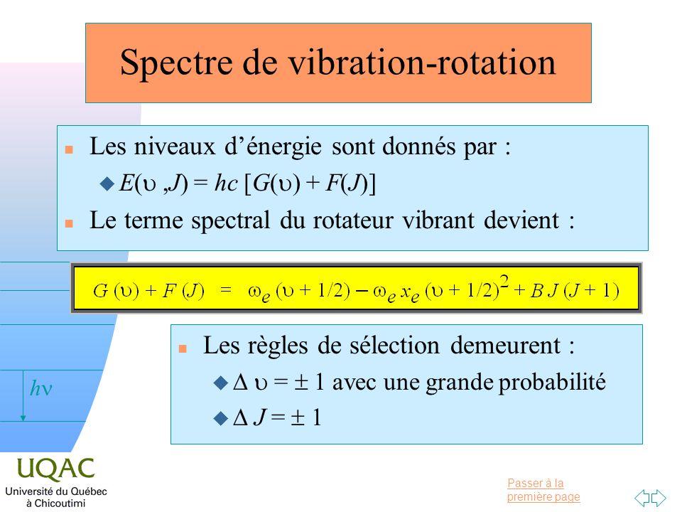 Passer à la première page v = 0 h Spectre de vibration-rotation n Les niveaux dénergie sont donnés par : u E(,J) = hc [G( ) + F(J)] n Le terme spectra