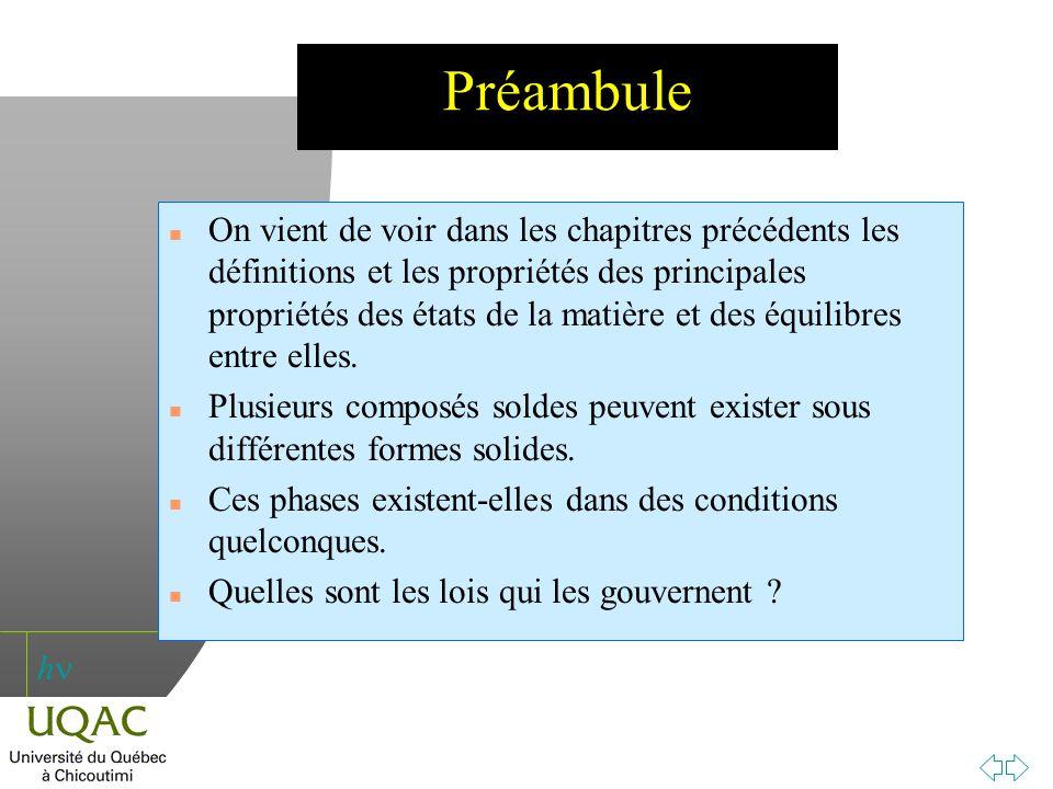 h Préambule n On vient de voir dans les chapitres précédents les définitions et les propriétés des principales propriétés des états de la matière et d