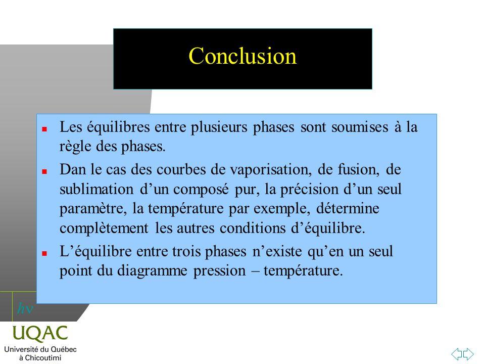 h Conclusion n Les équilibres entre plusieurs phases sont soumises à la règle des phases. n Dan le cas des courbes de vaporisation, de fusion, de subl
