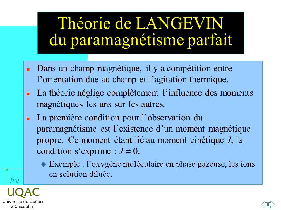 h Théorie de LANGEVIN du paramagnétisme parfait n Dans un champ magnétique, il y a compétition entre lorientation due au champ et lagitation thermique