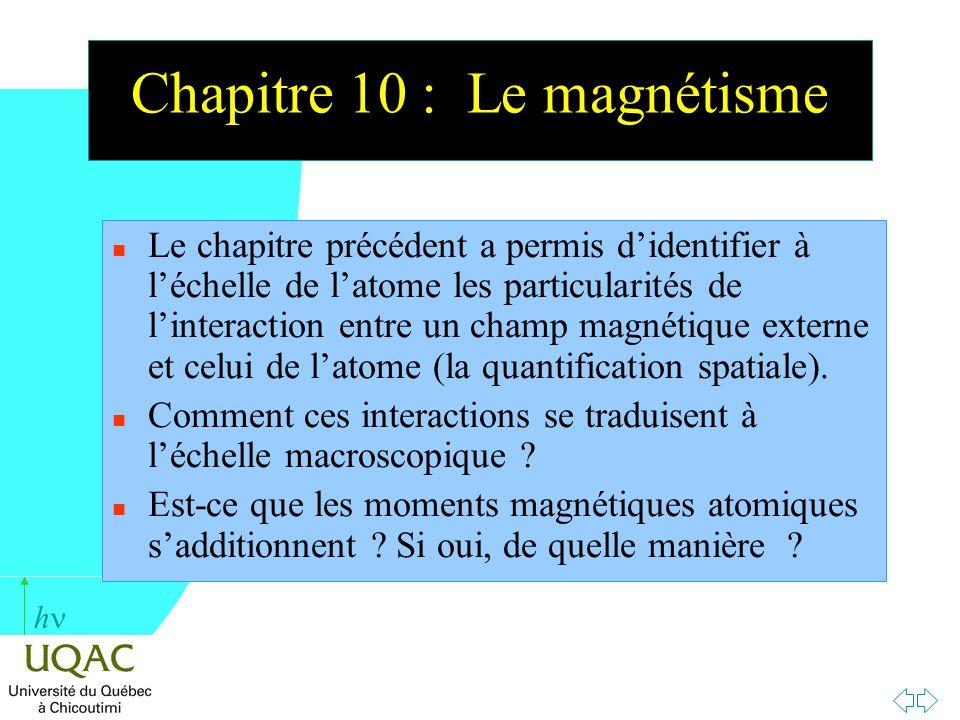 h Chapitre 10 : Le magnétisme n Le chapitre précédent a permis didentifier à léchelle de latome les particularités de linteraction entre un champ magn