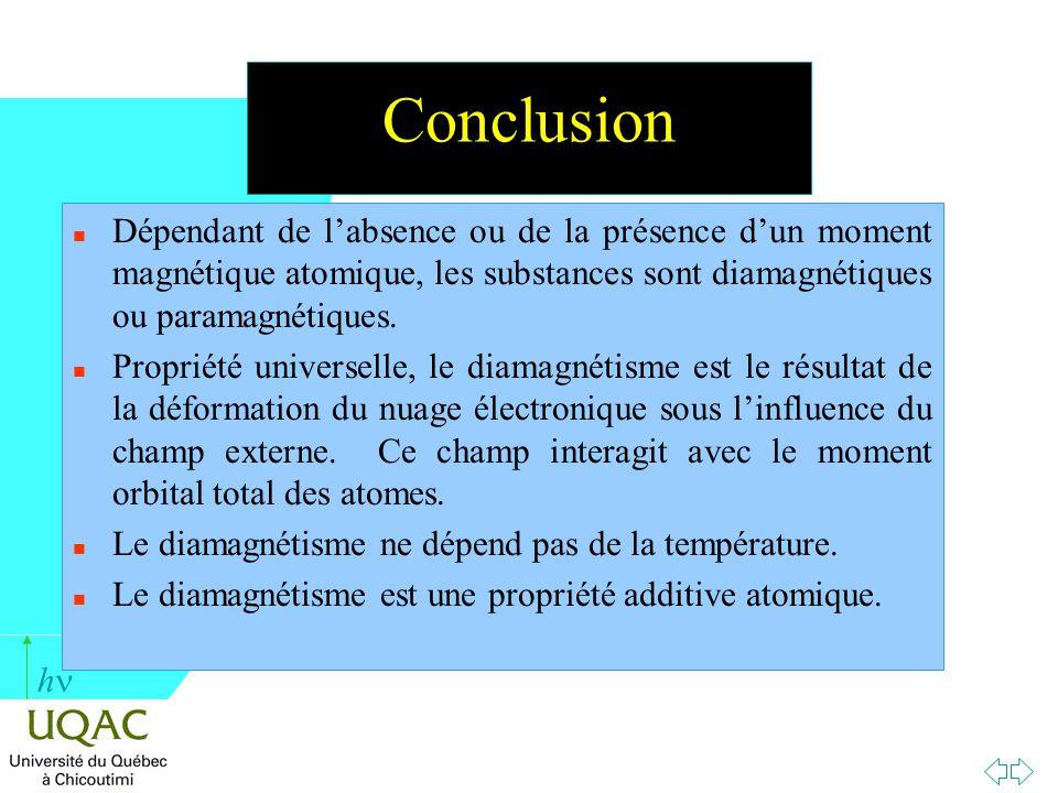 h Conclusion n Dépendant de labsence ou de la présence dun moment magnétique atomique, les substances sont diamagnétiques ou paramagnétiques. n Propri