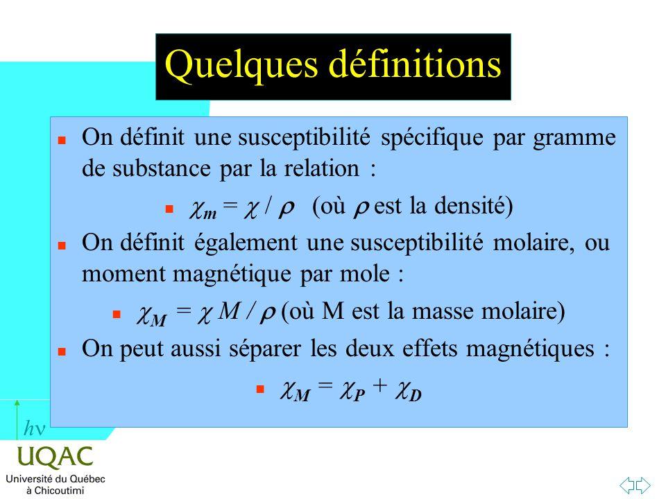 h Quelques définitions n On définit une susceptibilité spécifique par gramme de substance par la relation : m = / (où est la densité) n On définit éga