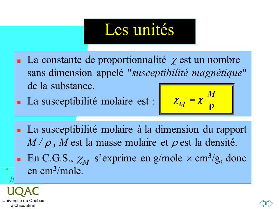h Les unités La constante de proportionnalité est un nombre sans dimension appelé