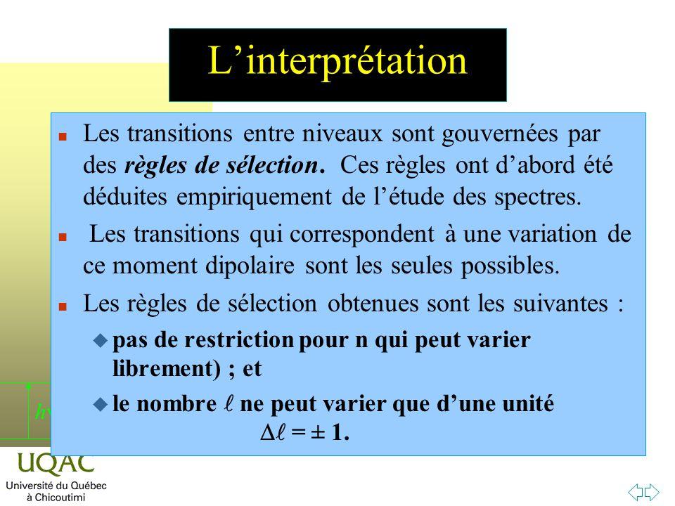 h Linterprétation n Les transitions entre niveaux sont gouvernées par des règles de sélection.