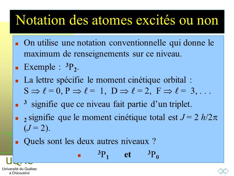 h Notation des atomes excités ou non n On utilise une notation conventionnelle qui donne le maximum de renseignements sur ce niveau.