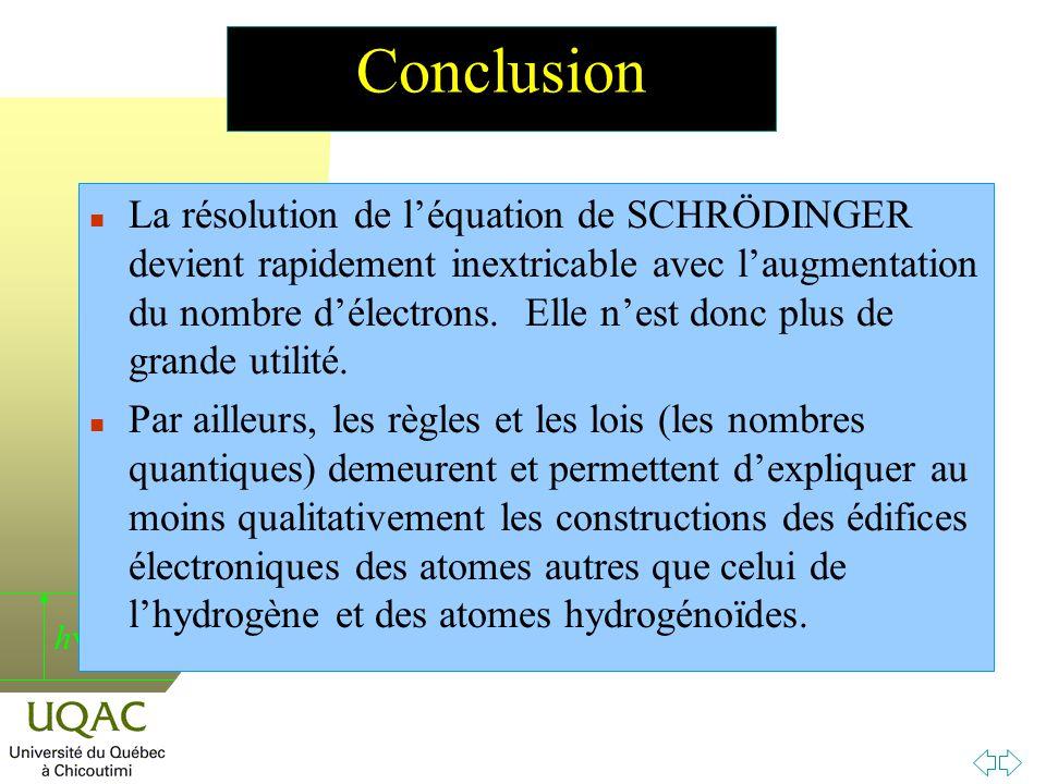 h Conclusion n La résolution de léquation de SCHRÖDINGER devient rapidement inextricable avec laugmentation du nombre délectrons.
