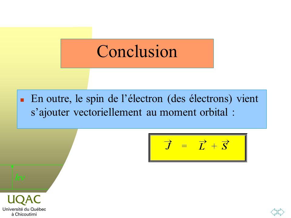 h Conclusion n En outre, le spin de lélectron (des électrons) vient sajouter vectoriellement au moment orbital :