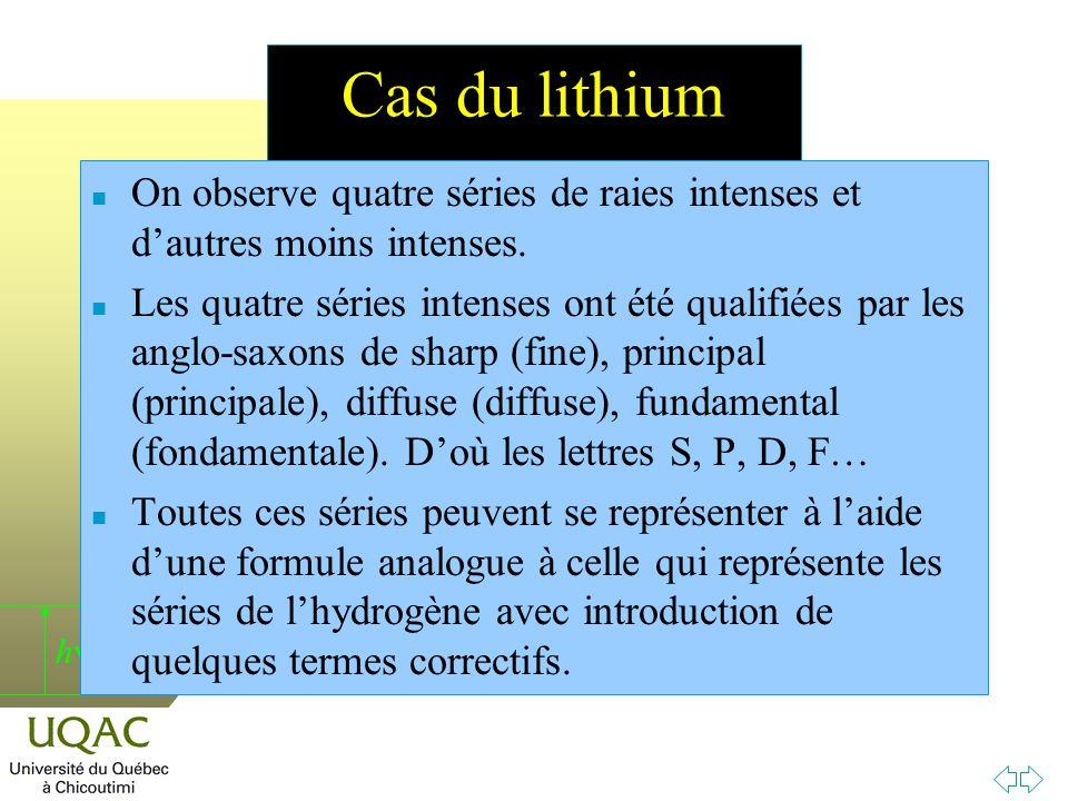 h Cas du lithium n On observe quatre séries de raies intenses et dautres moins intenses.