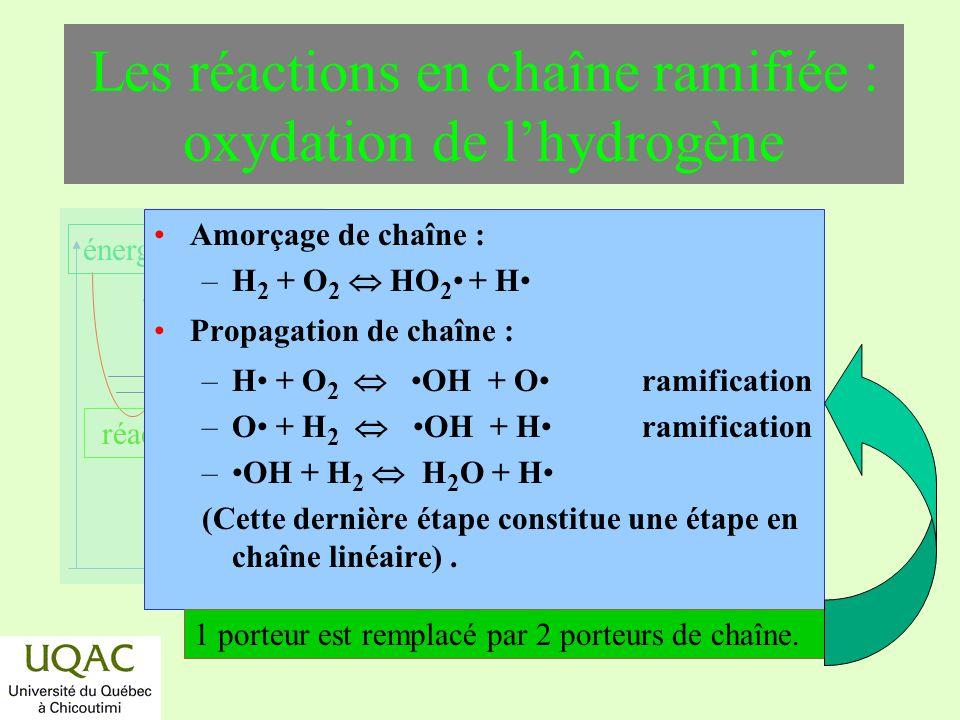 réactifs produits énergie temps Les réactions en chaîne ramifiée : oxydation de lhydrogène Amorçage de chaîne : –H 2 + O 2 HO 2 + H Propagation de cha