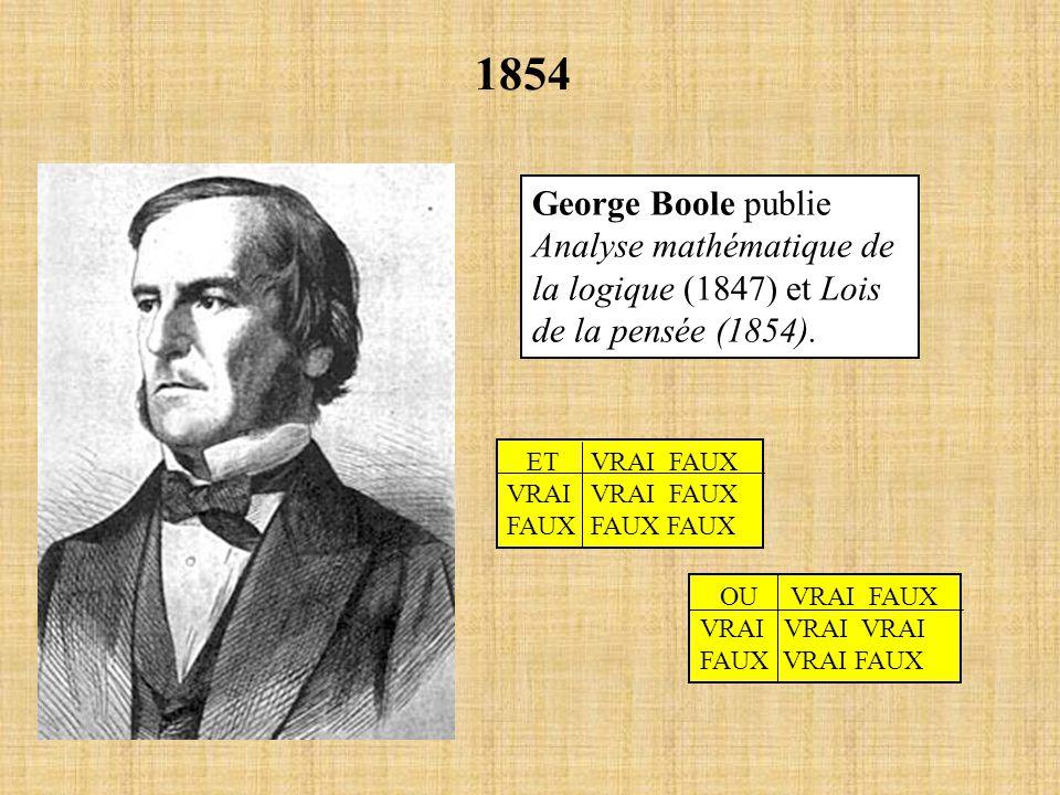 1854 George Boole publie Analyse mathématique de la logique (1847) et Lois de la pensée (1854). ET VRAI FAUX VRAI VRAI FAUX FAUX FAUX FAUX OU VRAI FAU
