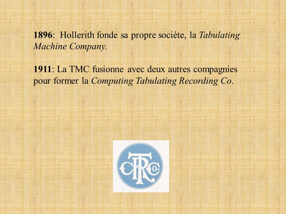 1911: La TMC fusionne avec deux autres compagnies pour former la Computing Tabulating Recording Co.