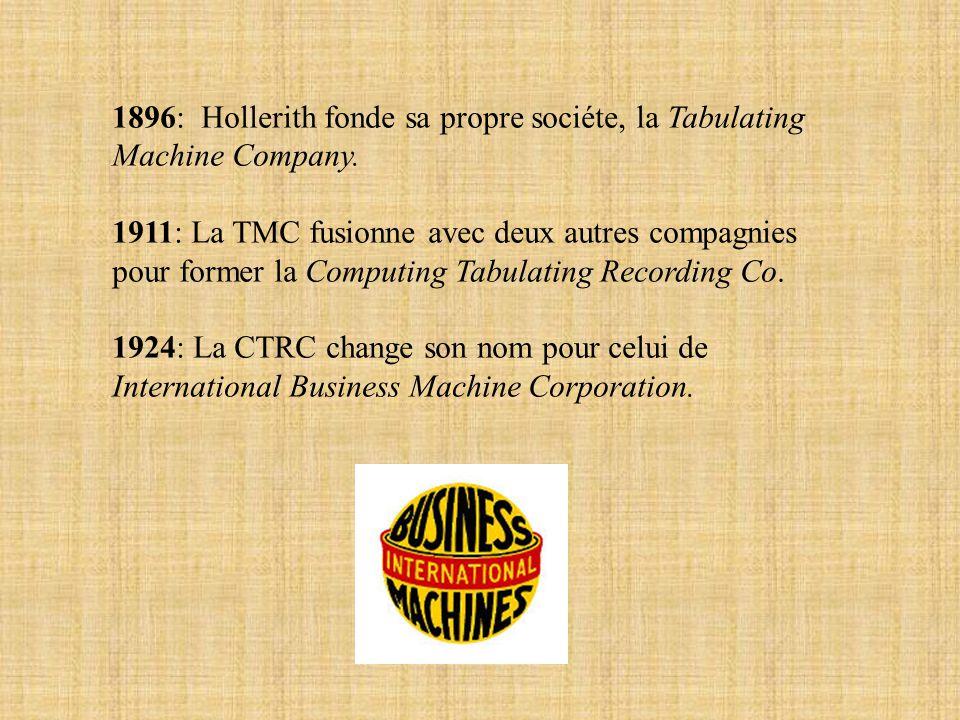 1896: Hollerith fonde sa propre sociéte, la Tabulating Machine Company. 1911: La TMC fusionne avec deux autres compagnies pour former la Computing Tab