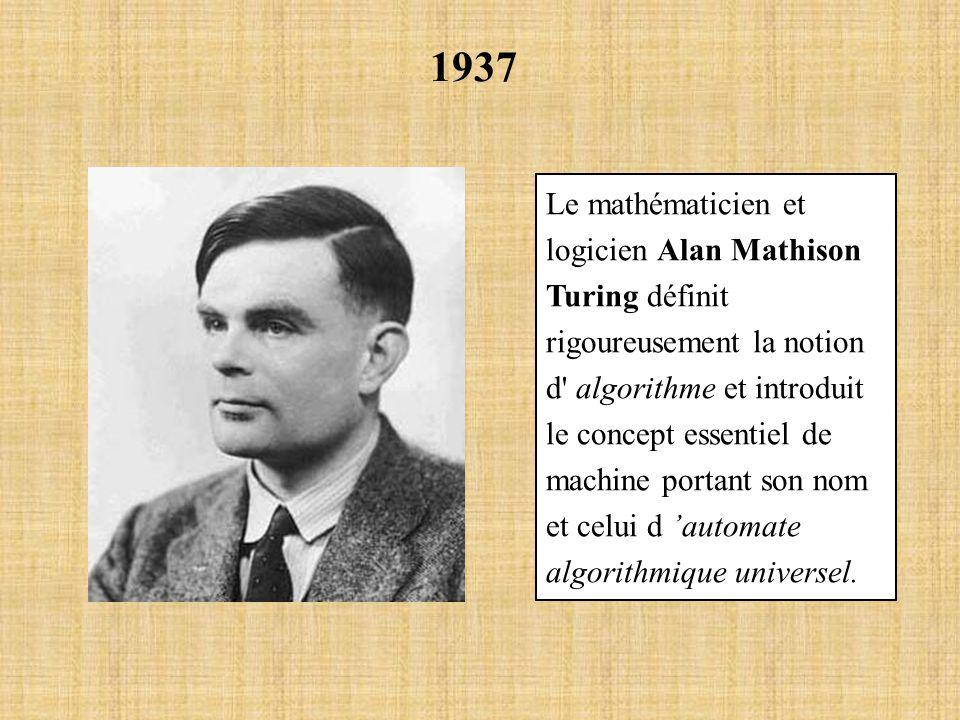 1937 Le mathématicien et logicien Alan Mathison Turing définit rigoureusement la notion d' algorithme et introduit le concept essentiel de machine por