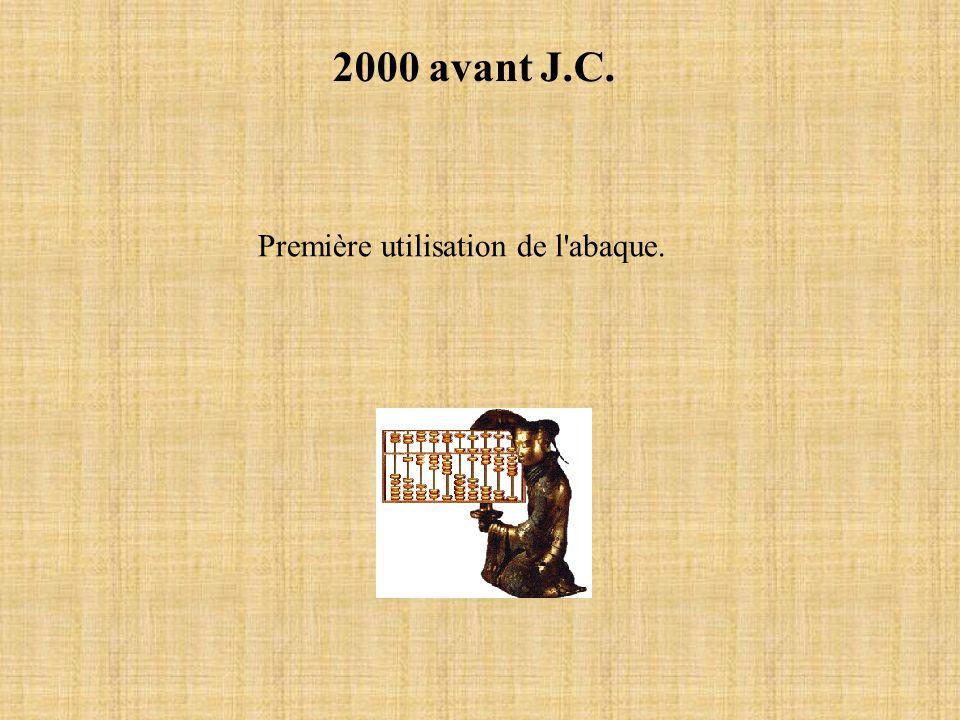 2000 avant J.C. Première utilisation de l'abaque.