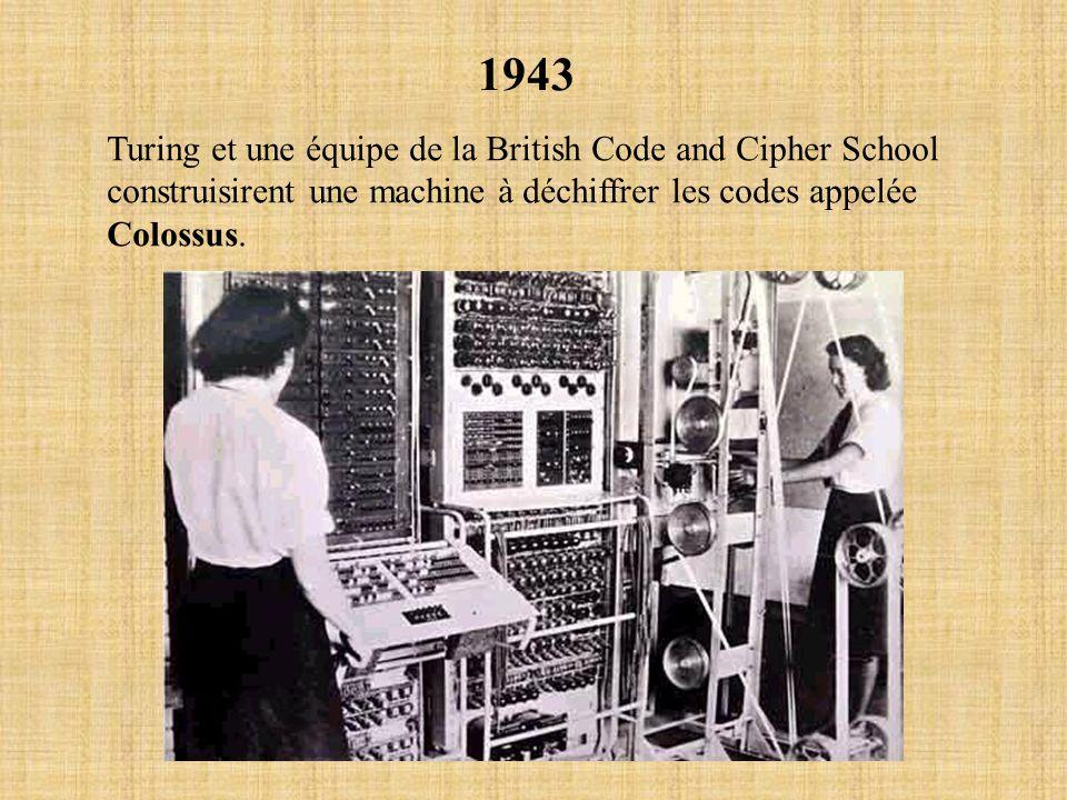 1943 Turing et une équipe de la British Code and Cipher School construisirent une machine à déchiffrer les codes appelée Colossus.