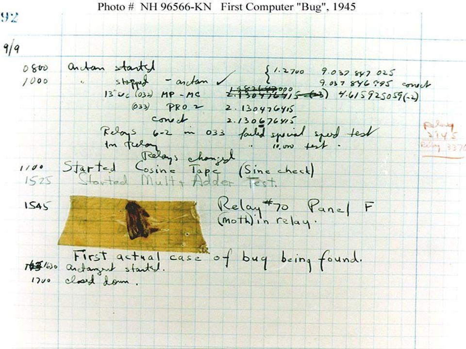 1945 Premier bug répertorié - 1945 [15h45 - relais n°70, panneau F, mite dans le relais]