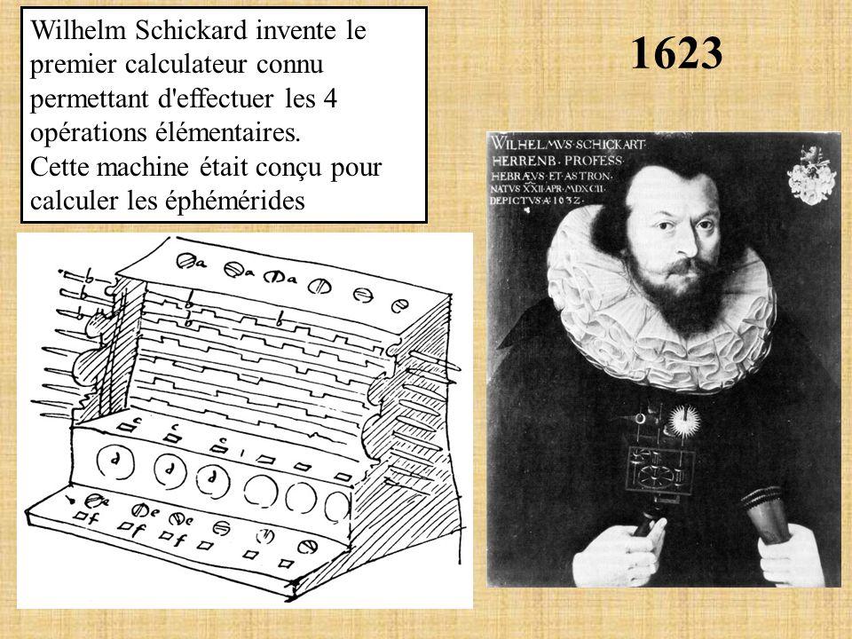 1623 Wilhelm Schickard invente le premier calculateur connu permettant d'effectuer les 4 opérations élémentaires. Cette machine était conçu pour calcu